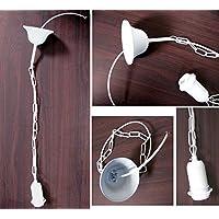 Pendel catena cavo elettrico per lampadario a sospensione lampada soffitto con gancio e portalampade; lunghezza cm 68 (Bianco