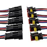 E Support™ 5Pcs 3-Polig Kabel Steckverbinder Stecker Wasserdicht Schnellverbinder KFZ LKW