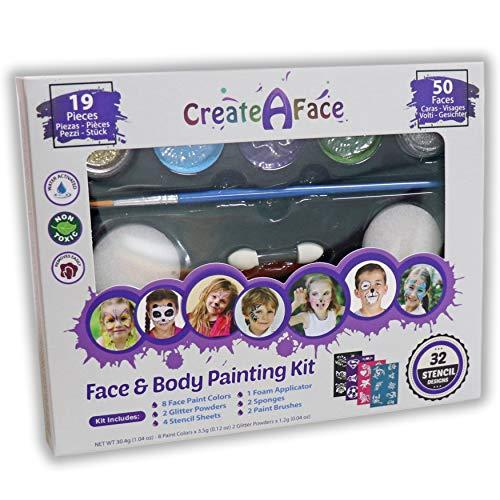 Schadstofffreie Farbe für Gesicht und Körper - inklusive 32 Schablonen, schimmernden Glitzergels, vielseitigen Pinseln, Schwämmchen und Applikatoren - intensive Farben ()