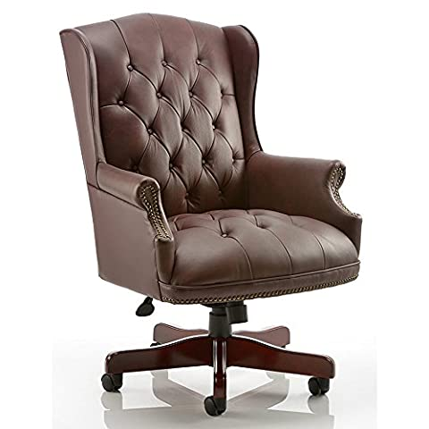 Dynamic Commodore Executive Leather Chair with Arms - Brown
