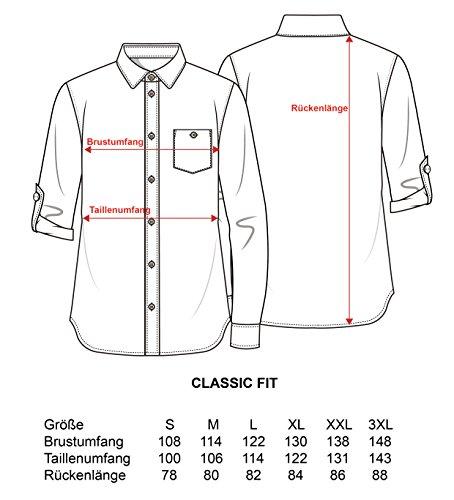 Schlusen Trachtenmode Trachtenhemd Hubert Weiß mit 10 Versch. Kontrastfarben (Gr. S-XXXL) mit Krempelärmel Classic Fit Bordeaux