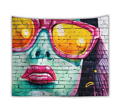 Aquarell Graffiti Tapeten An Der Wand Hängend,Frau An Der Wand,Böhmische Trippy Psychedelic Hippie Gothic Moderne Stoff Gedruckt,Große Mauer Kunst Dekor Für Wohnzimmer Schlafzimmer,230 × 150 cm -