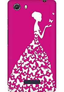 AMEZ designer printed 3d premium high quality back case cover for Micromax Unite 3 Q372 (pink and white girl princess)