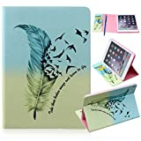 """CareyNoce iPad Air 2 Case, PU Leather Magnetic Book Flip Wallet Case for Apple iPad Air 2 iPad 6 (9.7"""") + Screen Protector and Stylus Pen - Blue Feather Bird"""