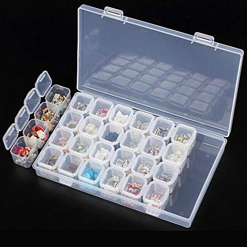 TEN-G Nails Storage Box Nail Tips Storage Box - 28 Slots Clear Plastic Empty Storage Box Nail Art Rhinestone Tools Jewelry Beads Display Storage Box Case Organizer Holder - Nail Storage Box