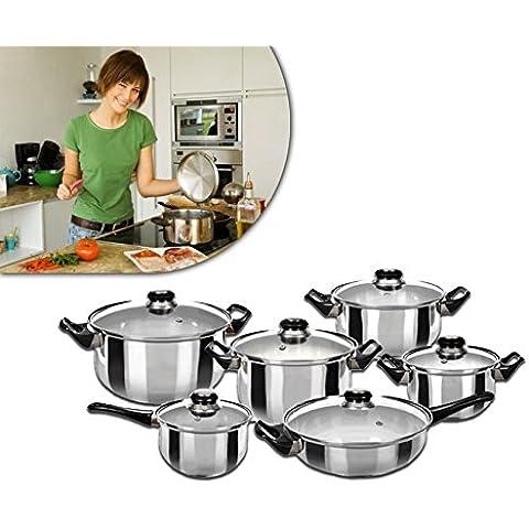 Set 12 piezas de ollas con tapa GUSTO CASA hecho en acero y asas de aislamento de calor 744600