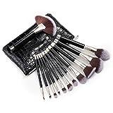 Kosmetik Pinsel Set, Anjou 12 tlgs. Make Up Pinsel aus weichem Kunsthaar, Gesichtspinsel Foundation Pinsel, Eyeliner, Lippenpinsel
