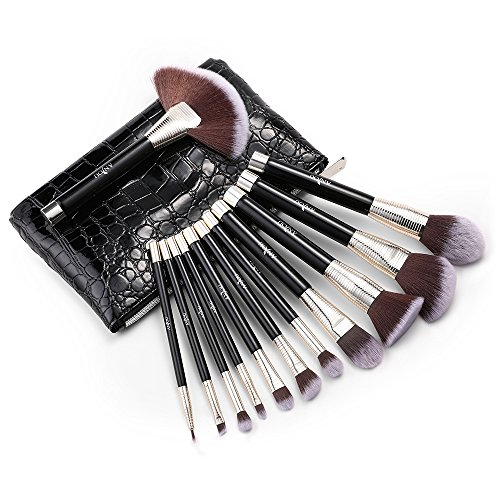 Kosmetik Pinsel Set, Anjou 12 tlgs. Make Up Pinsel aus weichem Kunsthaar, Gesichtspinsel Foundation...