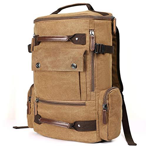 Canvas Rucksack Herren Vintage  Reiserucksack mit Kapazität 30L Arbeitsrucksack  Sportrucksack Laptop Rucksack 15.6  für Alltag Reise Wandern Sport Outdoor Freizeit (Coffee)
