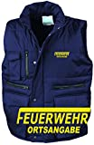 Feuerwehr Bodywärmer / Weste navy mit Aufrduck neongelb oder reflexsilber (XL, neongelb)