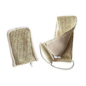 Sisal Set von Sarenius in Bio-Qualität. Massagegurt und Peelinghandschuh. Für vitalisierende Massagen, Nassmassagen & Trockenmassagen geeignet. Peeling mit Rückenschrubber & Massagehandschuh. Bio-Sisal & Bio-Baumwolle für Wellness & Pflege. Made in Italy.