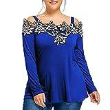 Ba Zha HEI Frauen 3/4 Ärmel Solid Plus Lose Off-Shoulder Bling T-Shirt Tops große Größe lose Sieben Stück gefälschte Zwei Stücke von Perlen trägerlosen Fledermaus Shirt (Blau, XXL)