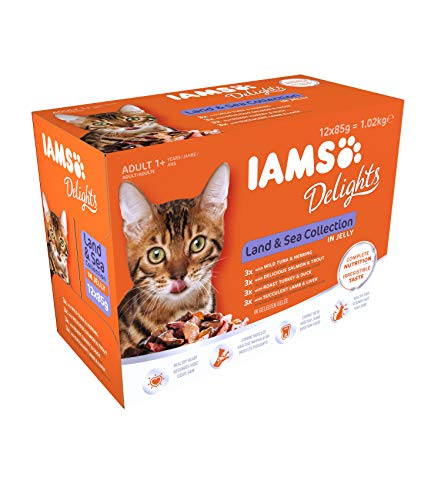 IAMS Delights Land & Sea Collection in Gelee - Ausgewogenes Nassfutter in verschiedenen Geschmackssorten für erwachsene Katzen ab 1 Jahr - 12 x 85g Frischebeutel