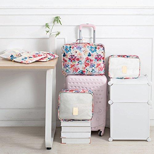 VIVOSUN 6-teiliges Packtaschen-Set Reisegepäck Kofferorganizer Organizer für Reisen Packwürfel Kleidertaschen Bunte Blumen