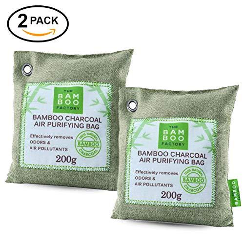 Activado Carbón de bambú purificador de aire, ambientador y Desodorizador elimina olores Natural sin químicos, absorbe sustancias nocivas, y mantiene el aire fresco–Pack de 2
