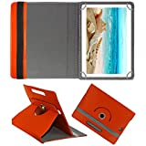 Fastway Rotating Leather Flip Case For I KALL N10 Dual Sim 4G Calling Tablet With 10.1 Inch Display Tablet Cover Stand Orange