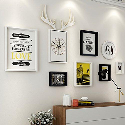 Dekorrahmen Wohnzimmer Massivholz Bilderrahmen Wand Sets Von 7, hängen Bilderrahmen Wand Wohnzimmer Schlafzimmer Kombination Bilderrahmen Wand Sofa Hintergrund Bilderrahmen Wand ( Farbe : E , größe : 7frames/156*87CM )