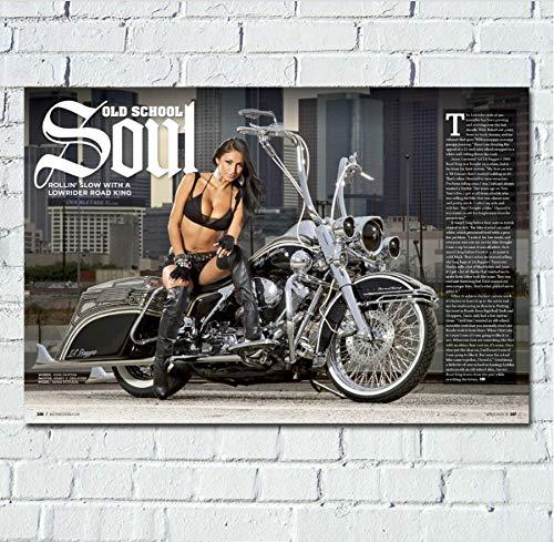 MZCYL Leinwand Malerei Wandkunst Bild Motorrad & Girl Chopper Motorrad Poster Drucken Leinwand Malerei Ohne Rahmen 40 * 60 cm