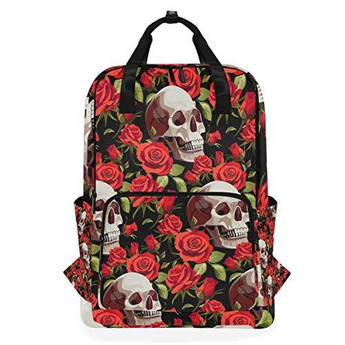 Hunihuni Halloween-Totenkopf-Schultertasche mit roter Rose, multifunktional, für Schule, Wandern, Reisen