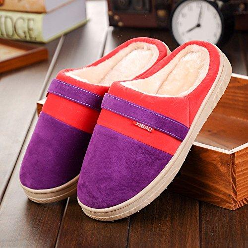 Chaussures de randonnée hautes et chaudes pour hommes antidérapantes et intérieur en coton , purple , 37