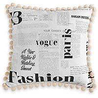Dekoria cojín (Wera con pompones. Impresión de 45x 45cm (18x 45,72cm), diseño de periódico