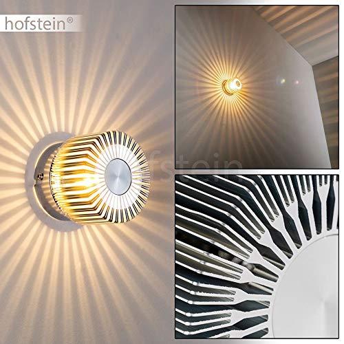 Wandleuchte Cantoni in Nickel-matt - 1 x G9 max. 28 Watt - strahlenförmiger Lampenschirm - Wandlampe aus Metall als stilisierte Blüte - Leselampe mit tollen Lichteffekten - nur für innen -
