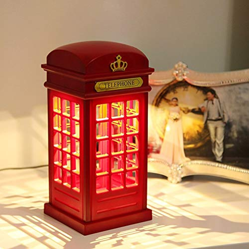 Tea fairy LED Night Desk Light Phone Booth With USB Charging Table Lamp Creative Night Light Table Lamp Romantic Red Touch Dimming Charge Sleep Light Bedroom Bedside