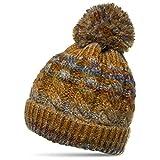 CASPAR MU170 Gefütterte Damen Vintage Winter Mütze Bommelmütze Multicolor, Farbe:braun;Größe:One Size
