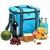 YONOVO Borsa termica da picnic, capiente, isolata e impermeabile, con vano per uso alimentare, per barbecue, campeggio, spiaggia, viaggi e pesca Skyblue-a