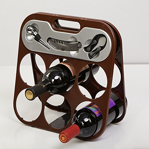 Foldable 6 Bottle Wine Rack with 3 Piece Accessory Set By Flintstop