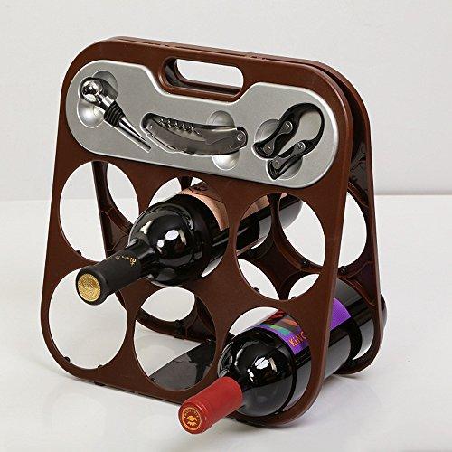 Foldable 6 Bottle Wine Rack with 3 Piece Accessory Set By Flintstop