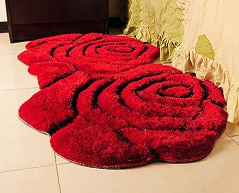 GRJH® Teppich, 3D Doppel Rosen Form Teppich modern Einfache Eingang Couchtisch Schlafzimmer Nachttisch Computer Stuhl Teppich Antistatisch ( Farbe : Rot )