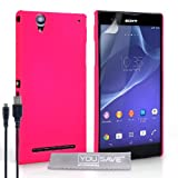 Yousave Accessories Sony Xperia T2 Ultra Hülle Dunkelrosa