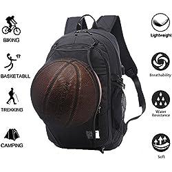 Valleycomfy Mochila de deporte para hombres, con red de baloncesto plegable e interfaz USB, para ocio/deporte/viaje bolsas de hombro (hasta 39,6 cm), negro