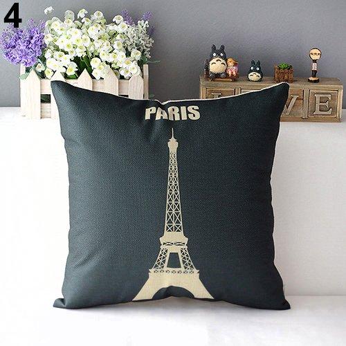 Lyhhai 1 pz throw pillow case retrò decorativo per la casa cuscino in cotone di lino sham casa per divano divano/camera da letto decorativo torre eiffel