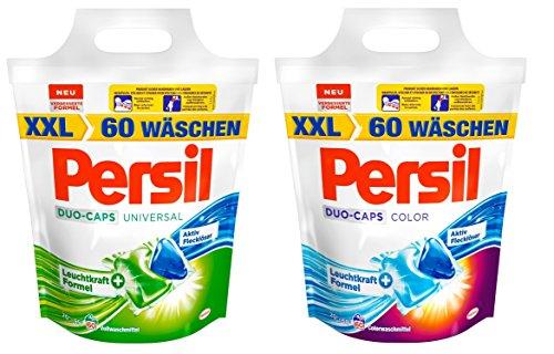 Persil Universal Duo-Caps, 1er Pack, 60 WL (2 x 30 Waschladungen) + Persil Color Duo-Caps, 1er Pack, 60 WL (2 x 30 Waschladungen)