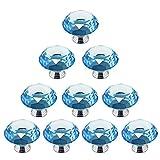 Psmgoods®, pomelli in vetro cristallo a forma di diamante, per armadietti della cucina, armadi o credenze, confezione da 10 pezzi, diametro superiore: 40 mm Light Blue