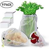 sacs réutilisables en maille, force à double Sacs à provisions lavables avec poids à vide sur les étiquettes pour les fruits les jouets les légumes l'épicerie les shopping et le stockage (9pcs)