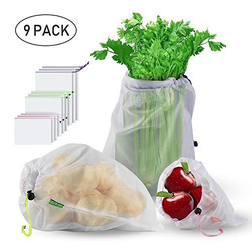 Wiederverwendbare Gemüsebeutel, STANBOW umweltfreundliche Einkaufstaschen waschbar Einkaufsbeutel langlebig   robust doppelt genähte Gemüsenetz mit Tara für Shopping Obst Gemüse Zero-Waste - Haltbares Kordelzug