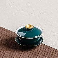 HAOYONGDE 180 ML De Porcelana Creativa Gaiwan Green Underglaze Chapado En Oro del Tazón De Fuente