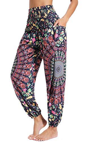 Pantalones de Yoga Sueltos Mujer Harem Boho del Lazo del Pavo Real Flaral Funky #2 Flor Impresa-#2 Flor Impresa-C
