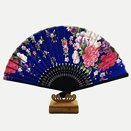 Dark Womens Lady Kostüm - XIAOHAIZI Handfächer,Sommer Im Chinesischen Stil Frauen Bambus Lüfter Dark Blue Hohlen Pflanze Blume Vintage Folding Lüfter Geeignet Für Hochzeit Lady Gift Tanz Ventilator U-Bahn Folding Fan