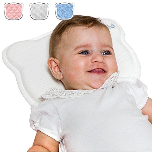 Koala Babycare® Cuscino Neonato Plagiocefalia Sfoderabile (con due Federe) per la Prevenzione e Cura della Testa Piatta in Memory Foam Antisoffoco - Bianco - Design Registrato KBC®