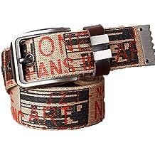 WENLONG Carta Cinturón Cinturón Lienzo Simple Ocio Jóvenes Estudiantes  Blancos Hebilla Cinturon Marron De Personalidad 36d65020aef