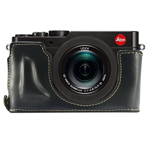 First2savvv XJPT-TYP109-D01 Black Leather Half Camera Case Bag Cover base for Leica D-LUX (Typ 109)