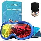 Zacro Kinder Skibrille, Anti Fog und Anti UV Snowboardbrille, OTG-Design mit Anti Rutsch Tape, Inklusive Skimaske und Tragetasche,Blau