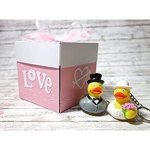 Geschenkschachtel Geldgeschenk Geschenkverpackung Explosionsbox Geschenk zur Hochzeit mit Brautpaar Badeenten Quietscheenten Gummienten Gutschein Gutscheinverpackung Gutscheinbox Geschenkbox Hochzeitsbox Hochzeitsgeschenk handgefertigt