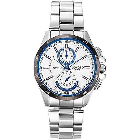 Longbo reloj de banda de acero inoxidable reloj de pulsera hombre deportivo para adultos