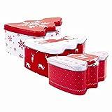 Queste scatole di latta a forma di albero di Natale sono dotati di un coperchio ermetico rimovibile e un design di Natale stampato. Ogni scatola è realizzata in latta resistente.