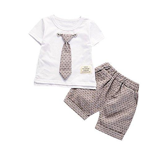 Set, Junge Sommer Gentleman Kids Boys Krawatte Pullover Kurze ärmel T-Shirt Shorts Hosen Sportanzug ()